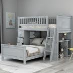 Gray Twin Over Twin Bed with Drawers and Shelves for Kids by Harper & Bright Designs