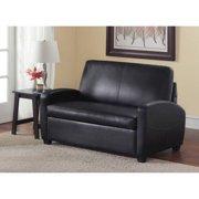 Mainstays 54 Faux Leather Loveseat Sleeper Black