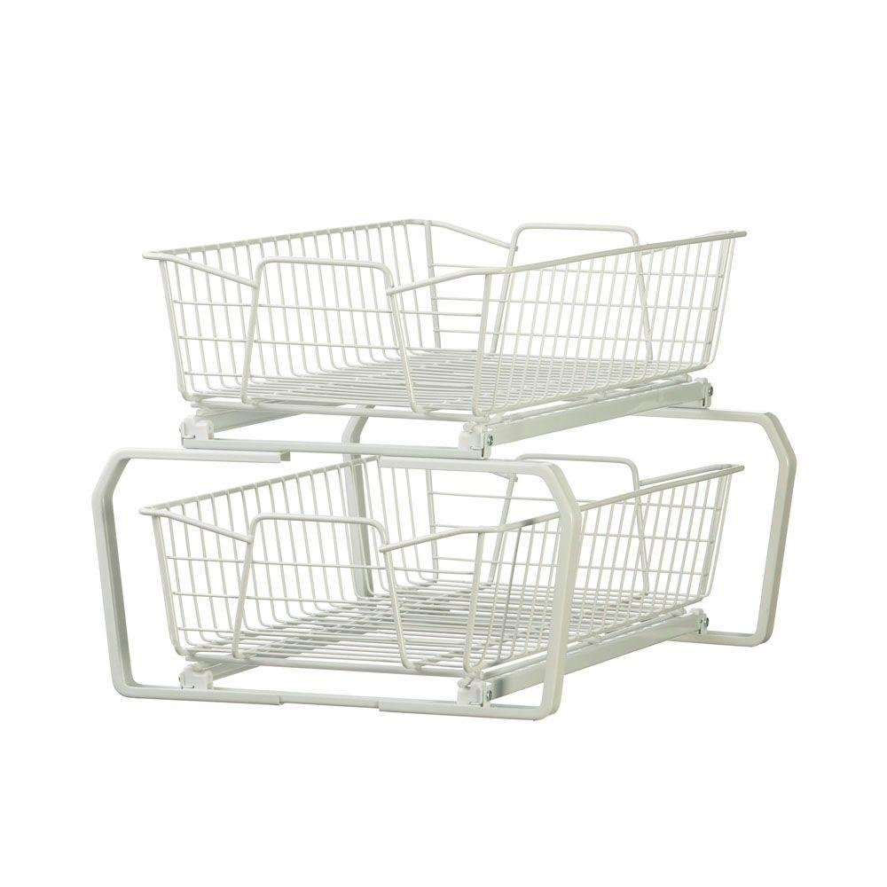 12.11 in. W 2-Tier Ventilated Wire Sliding Cabinet Organizer in White