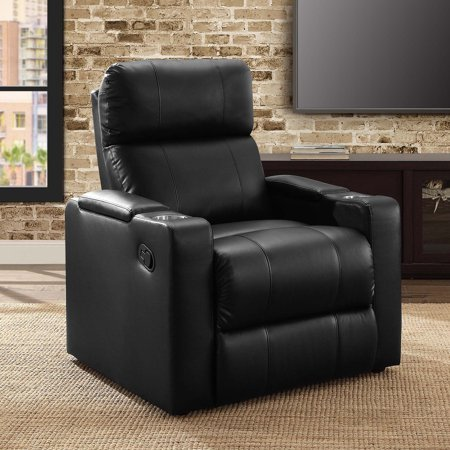Mainstays Home Theater Recliner with In-Arm Storage, Reclining Chair with PU Leather Upholstery, Black Mainstays Home Theater Recliner with In-Arm Storage,