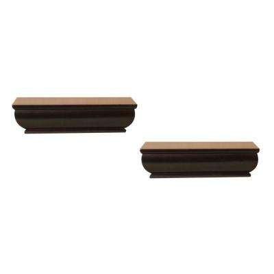 2-Shelf 8 in. L x 4 in. W Profile Espresso Ledge