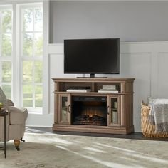 StyleWell Flint Mill 48 Media Console Electric Fireplace in Prairie Ash Finish