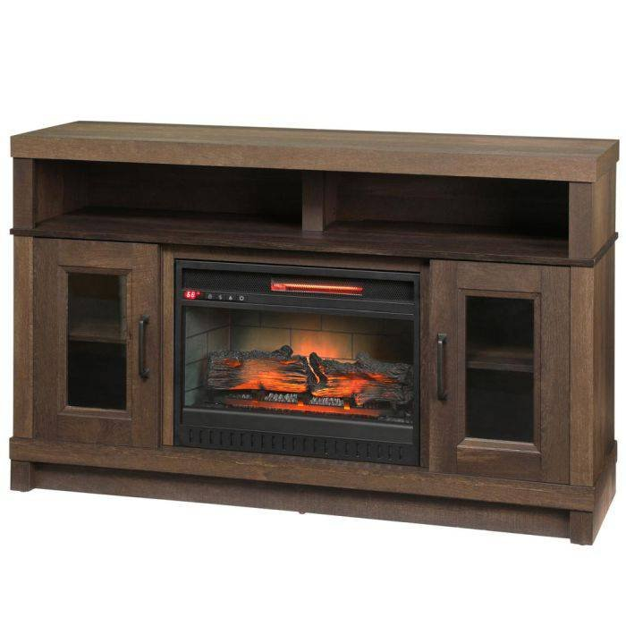 Home Decorators Collection Ashmont 54 in. Freestanding Electric Fireplace TV Stand in Aged Oak