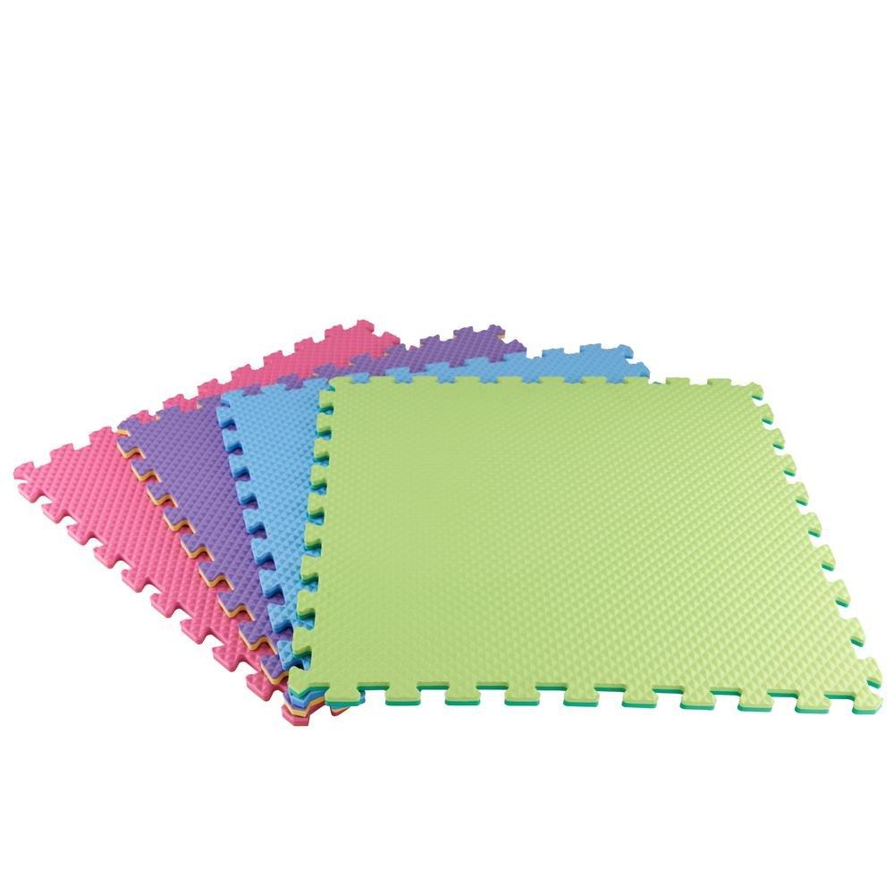 Primary Pastel 24 in. x 24 in. x 0.47 in. Playroom Floor (4-Pack)