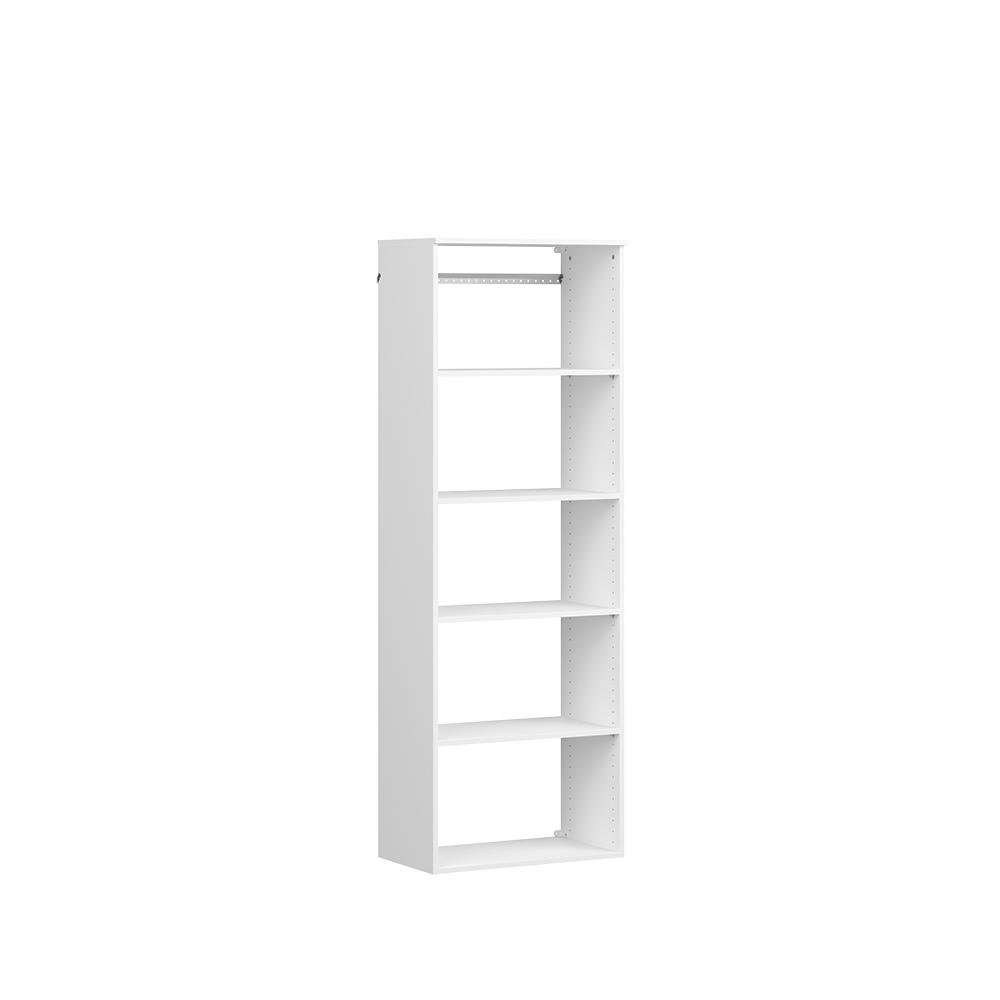 Style+ 14.59 in. D x 25.12 in. W x 71.6 in. H White Hanging 6-Shelves Wood Closet System