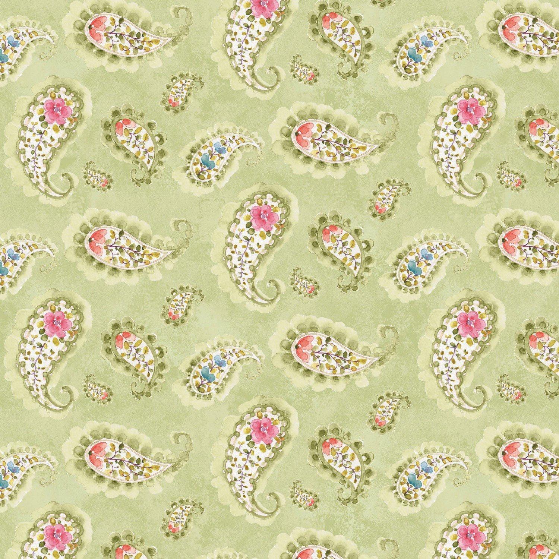 Wilmington Prints Rainbow Seeds 86421 713 green paisley 100% cotton fabric