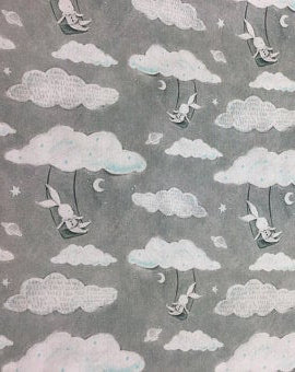 3 Wishes 14655 Adventures in the Sky Gray 100% Cotton fabric with bears swinging on clouds