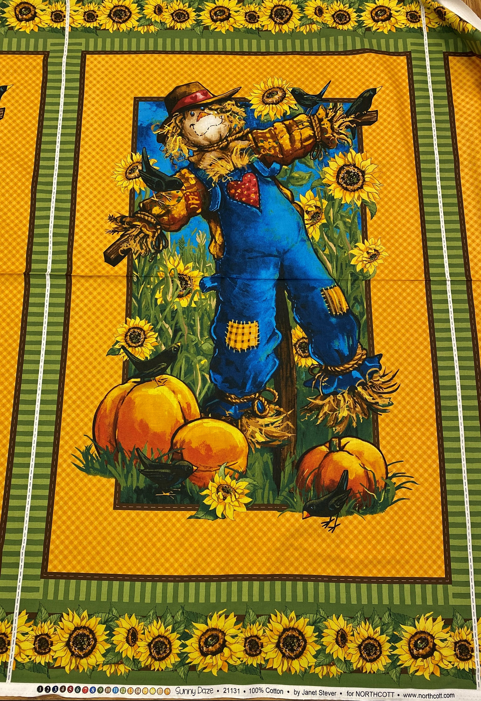 Northcott Sunny Daze by Janet Stever 21131 Scarecrow panel 100% cotton