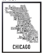 Chicago Neighborhoods Graphic Poster Black on White