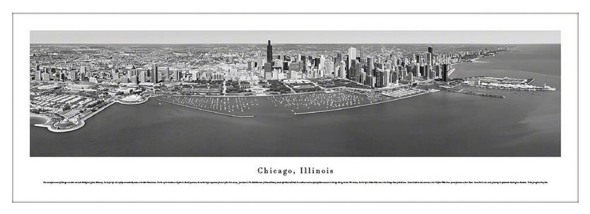 #BWCHI-8 Blakeway Panoramic B&W Photo Print of Chicago Lakefront