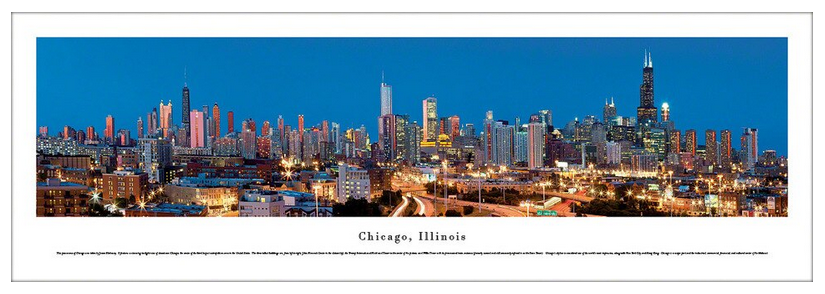#BWCHI-11 Downtown Chicago Panoramic Print