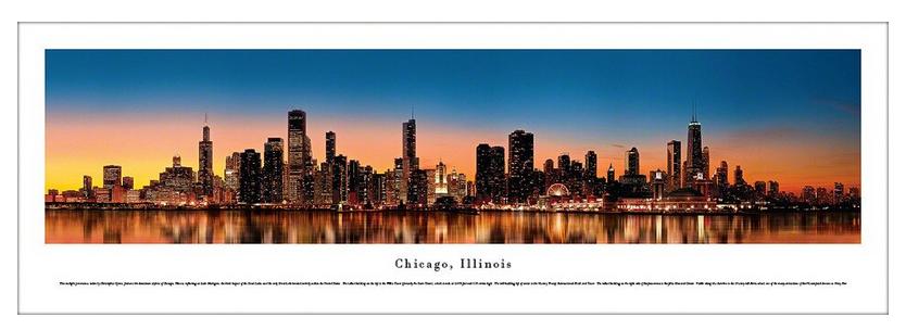 #CHI-12 Blakeway Panoramic Photo Print of Chicago at Twilight