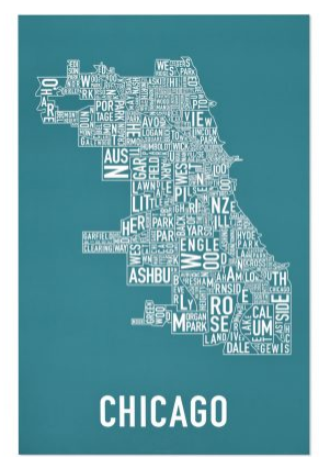Chicago Neighborhoods Graphic Poster White on Sweet Blue (Teal)