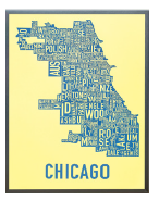Chicago Neighborhoods Graphic Screenprint-Windy City Blue on Yellow Paper