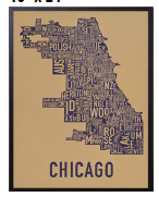 Chicago Neighborhoods Graphic Screenprint Eggplant Purple on Tan Paper