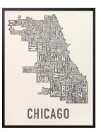 Chicago Neighborhoods Graphic Poster Ivory & Grey