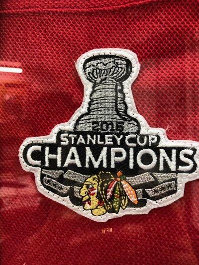 Stanley Cup logo on Blackhawks jersey