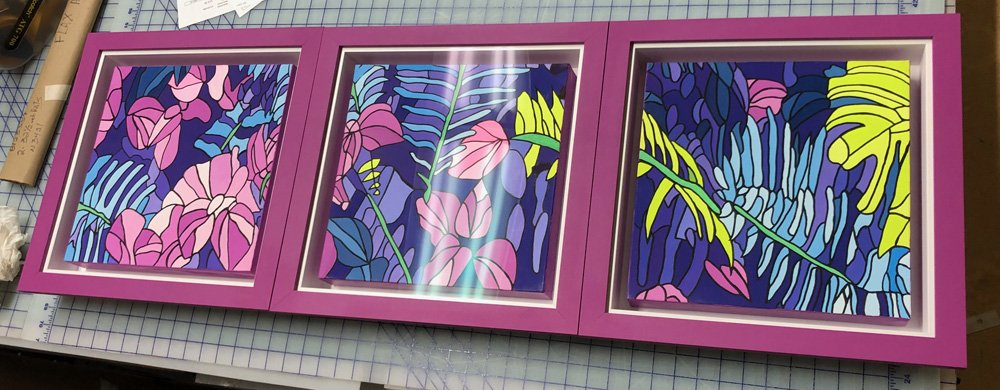 3 Stacked floater frames with canvases