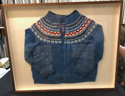 Blue Cardigan Sweater Shadowbox Frame