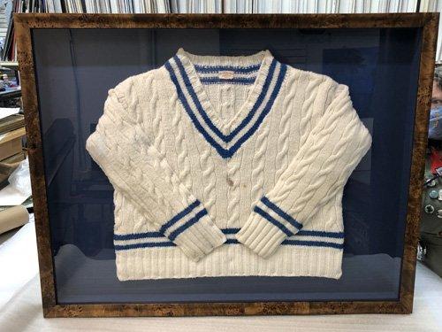 White V-neck sweater shadowbox frame