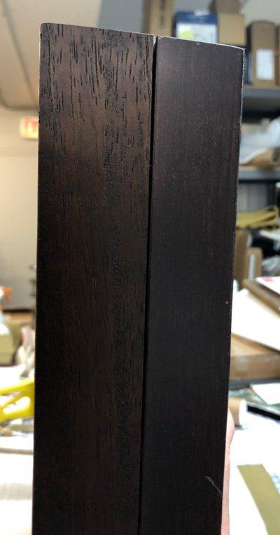 detail showing extender on burl wood frame