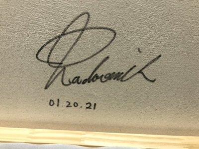 Kawasaki Signature on back of canvas