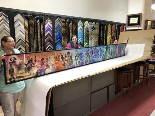 12 foot long Star Wars collage canvas in frame