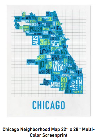 Chicago Neighborhoods Graphic Screenprint-Multicolor