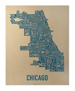 Chicago Neighborhoods Graphic Screenprint-Navy Blue on Gold 11 x 14 Paper
