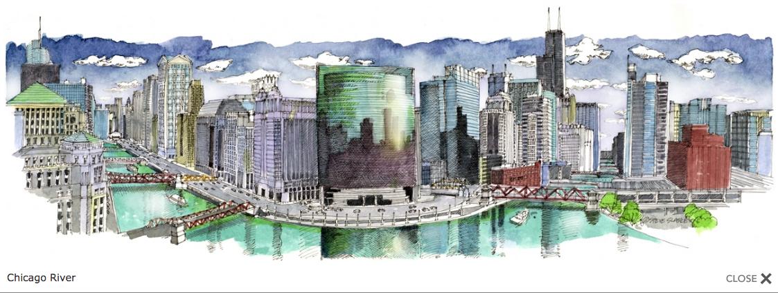 Chicago River -17 x 5.5 Panoramic Print by Steve Slaske