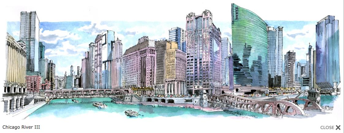 Chicago River III- 17 x 5.5 panoramic print by Steve Slaske