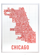Chicago Neighborhoods Graphic Poster Spicy Red on White