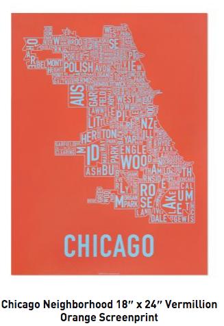 Chicago Neighborhoods Graphic Screenprint-Lt.Blue on Vermillion Paper
