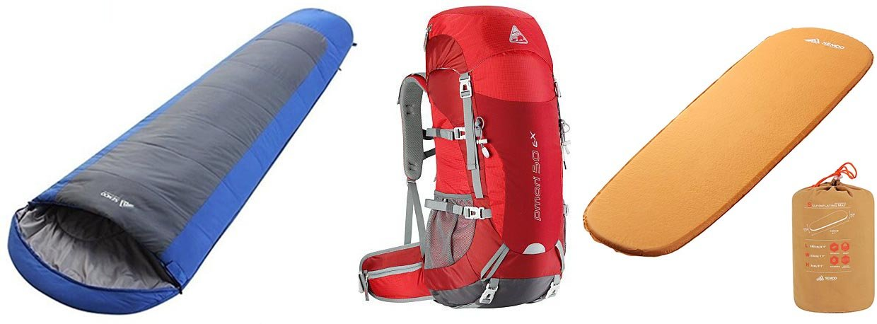 BACKPACK, SLEEPING BAG, AND PAD COMBO