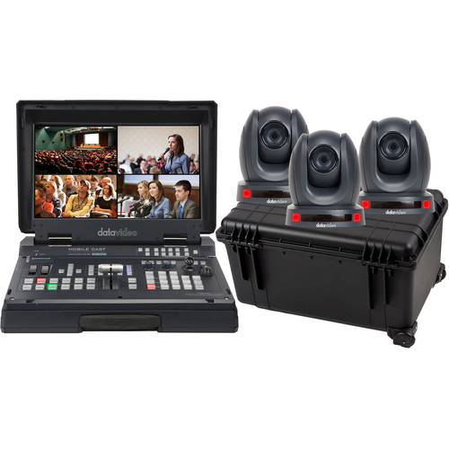 Data Video HS-1500T-3C140TC - Mobile Studio Kit with 3 PTC-140T and Hard Rolling Case