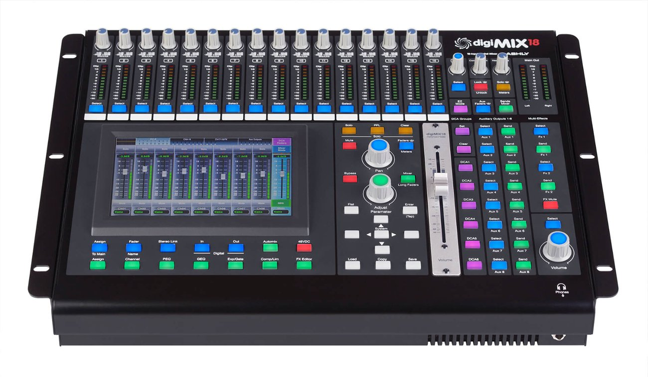 Ashly Mixer - Digital, 18-Channel Console, Rack Mount or Tabletop (Rack Mount Included)