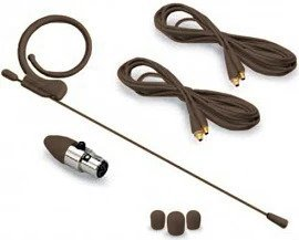 Avlex HSP-49BR Ultra Low Profile Single Ear Omnidirectional Headset with Mini XLR Adapter - Brown