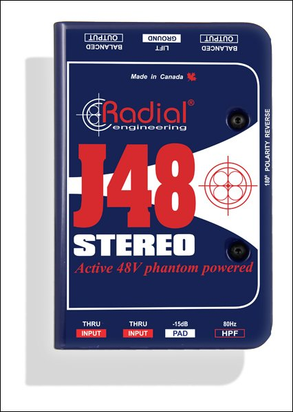 Radial J48 Stereo - Active Direct Box, Stereo for Guitar and Bass