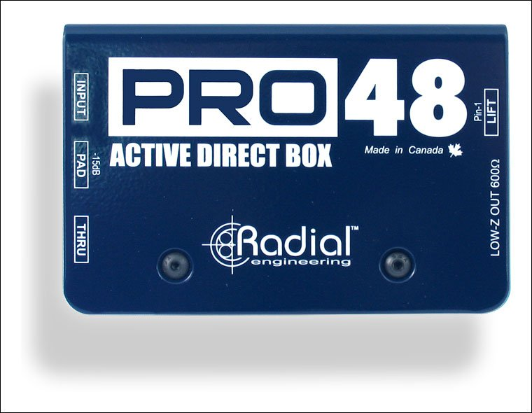 Radial PRO48 - Active Direct Box for Acoustic Guitar and Bass, 48V Phantom Powered