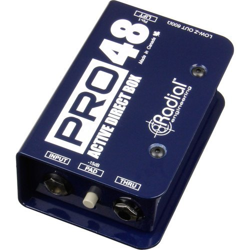Radial Pro48 Active Direct Box for Acoustic Guitar and Bass, 48V Phantom Powered