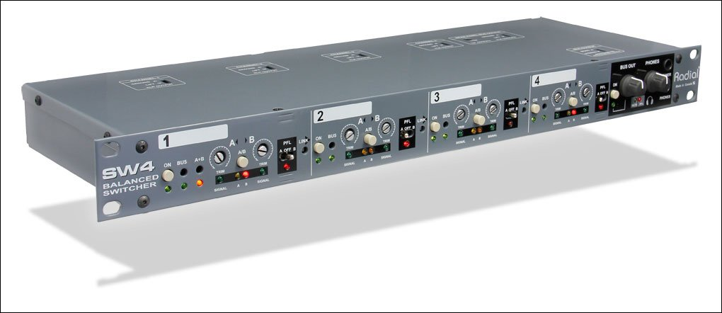 Radial SW4 - Balanced Stereo Switcher, 4 Channel AB Input Switcher