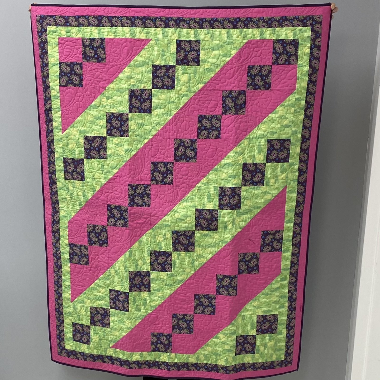 Paisley Pink and Green Quilt 45 x 58
