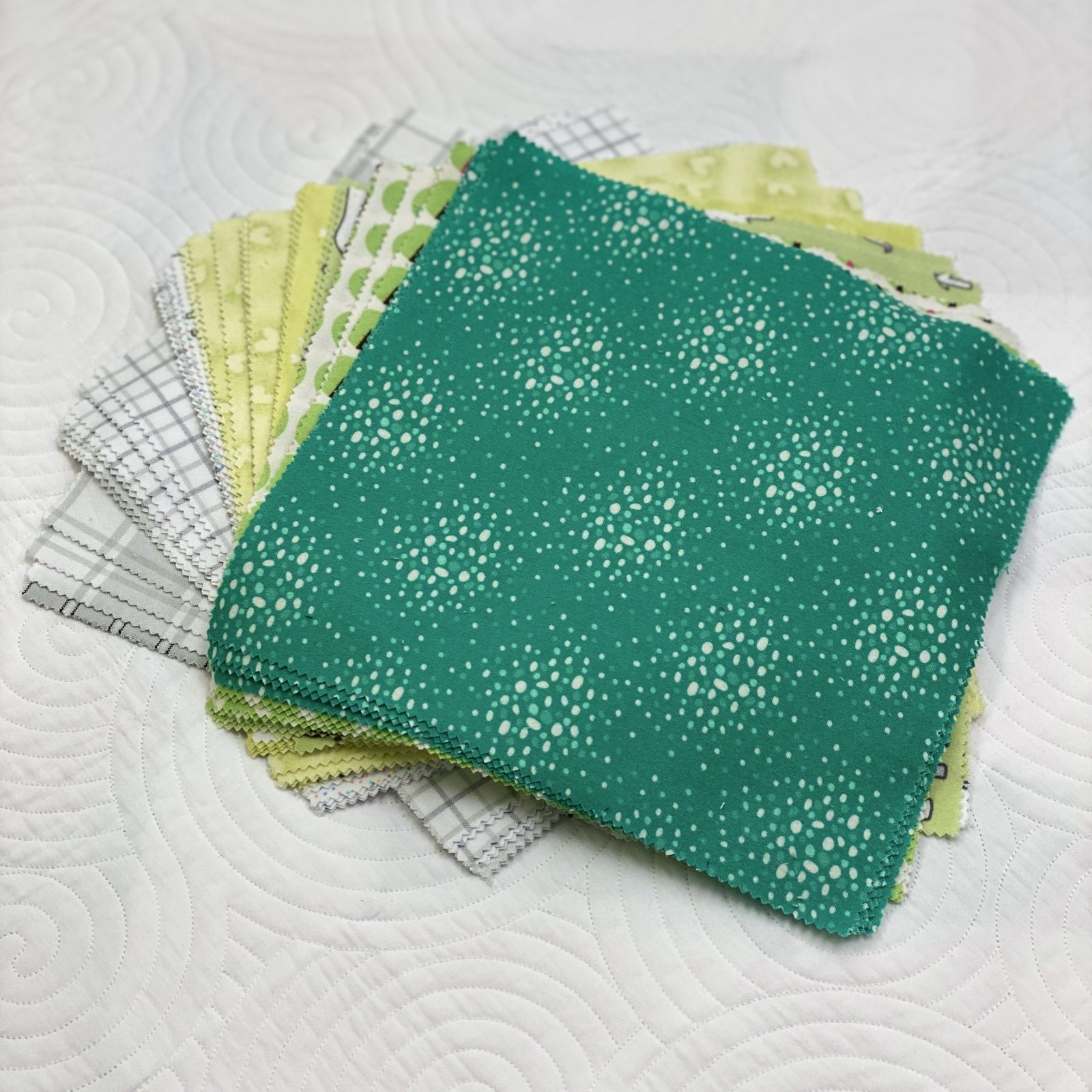 Flannel Prints Green 10 Inch Squares