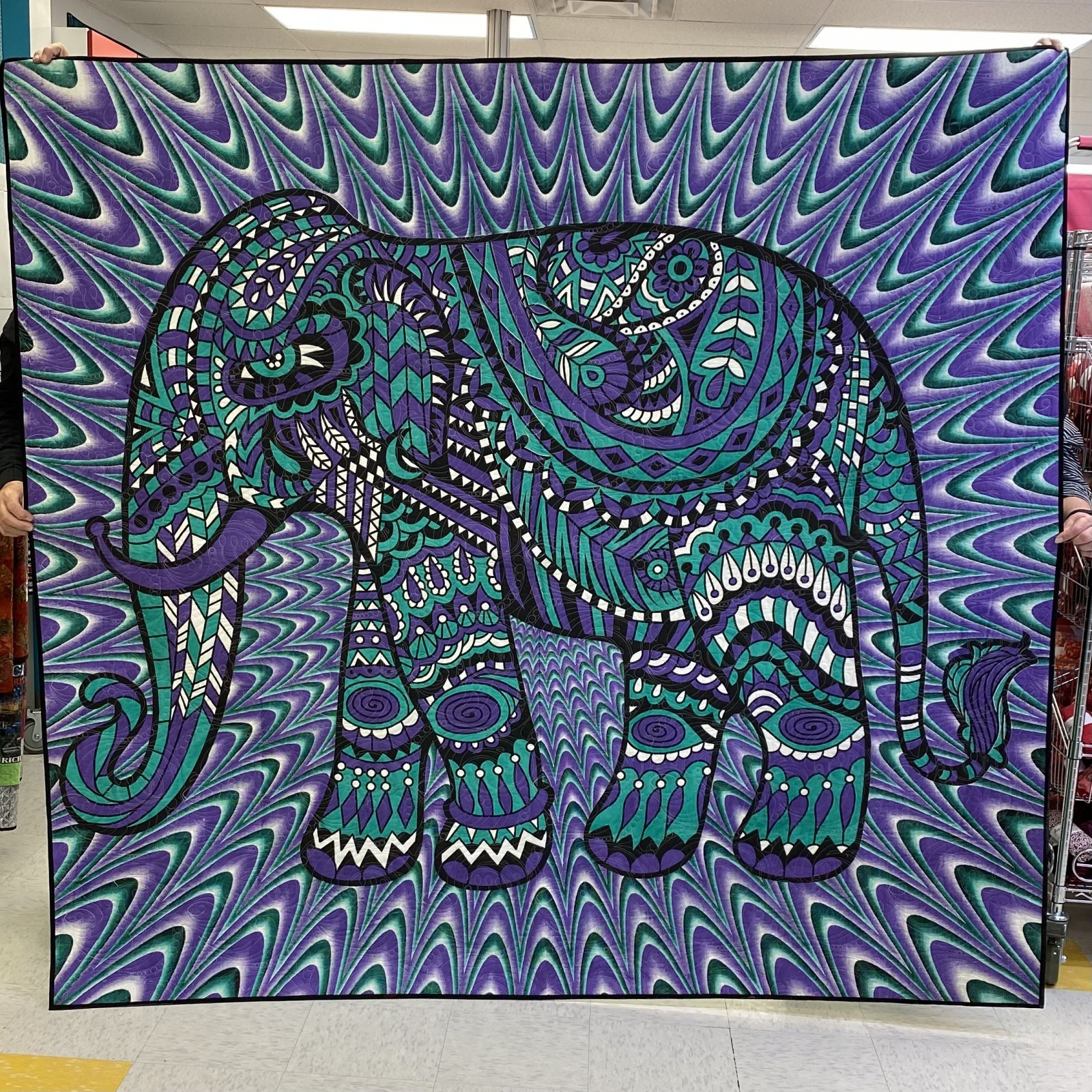 Elephant Tapestry Quilt 80 x 86