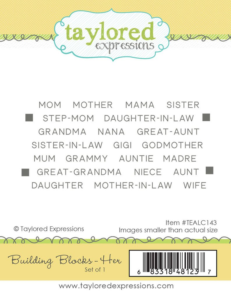 Taylored  Expressions Cling Stamp - Building Blocks - HER
