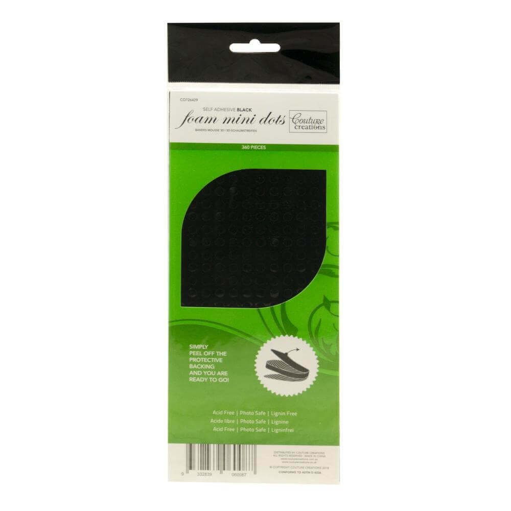 Couture Creations Adhesive - 3D Foam - Black Mini Dots (360 pcs)