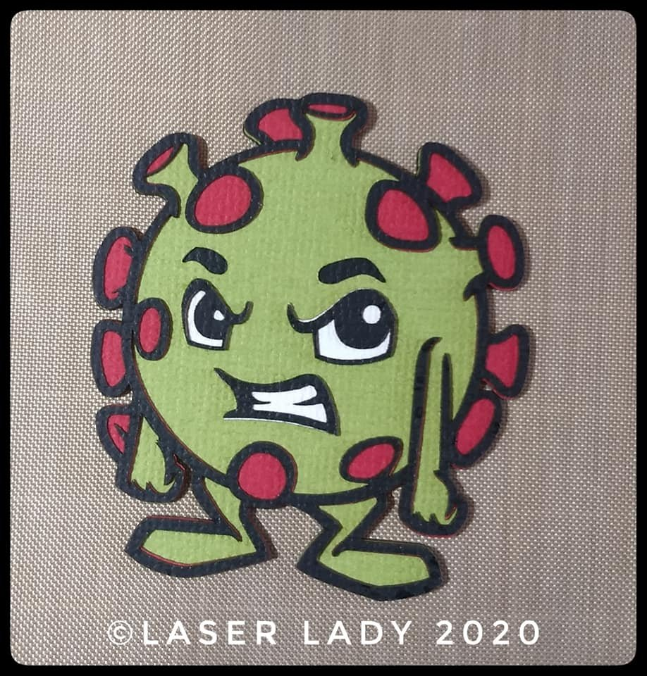 Laser Lady Coronavirus Germ (large) - Laser Title