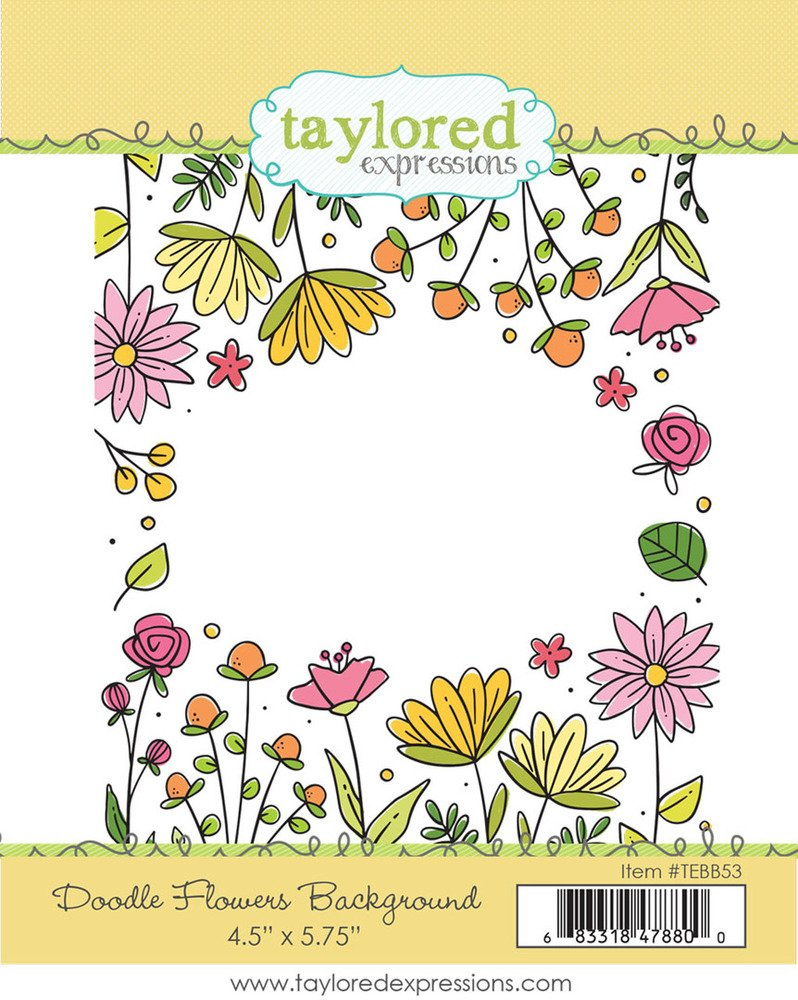 Taylored Expressions Cling Stamp, Doodle Flowers Background