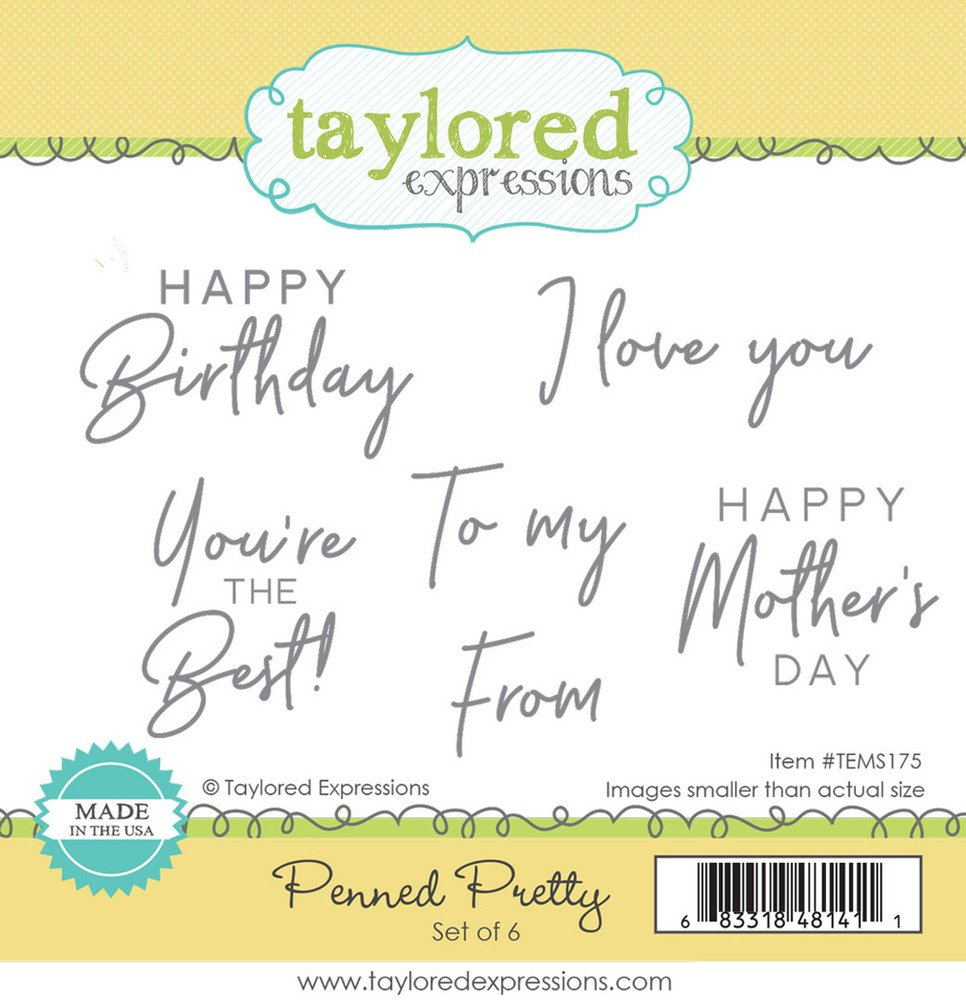 Taylored Expressions Cling Stamp - Penned Pretty