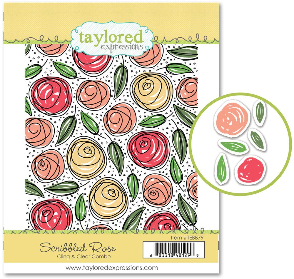 Taylored Expressions Cling & Clear Stamp Combo - Scribbled Rose